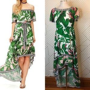 Flying Tomato Palm Leaf Print High-Low Maxi Dress